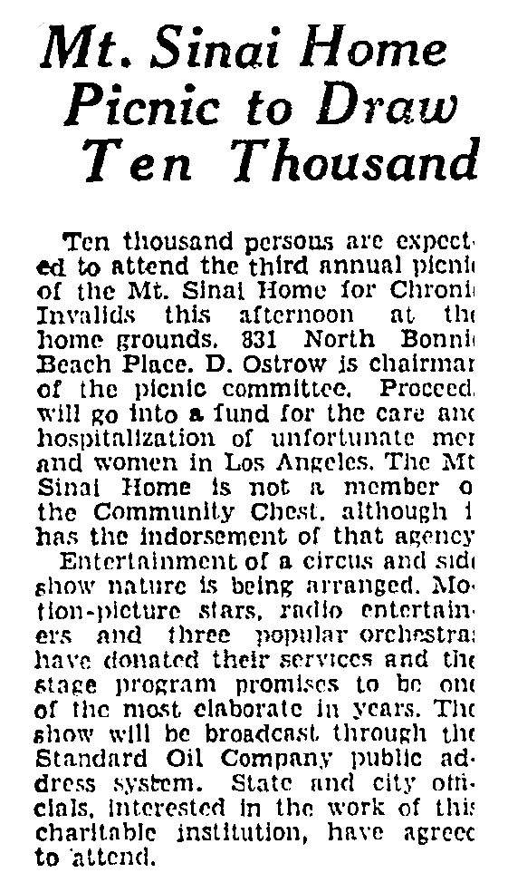 The Mount Sinai Hospital and Outpatient Clinic, 1941