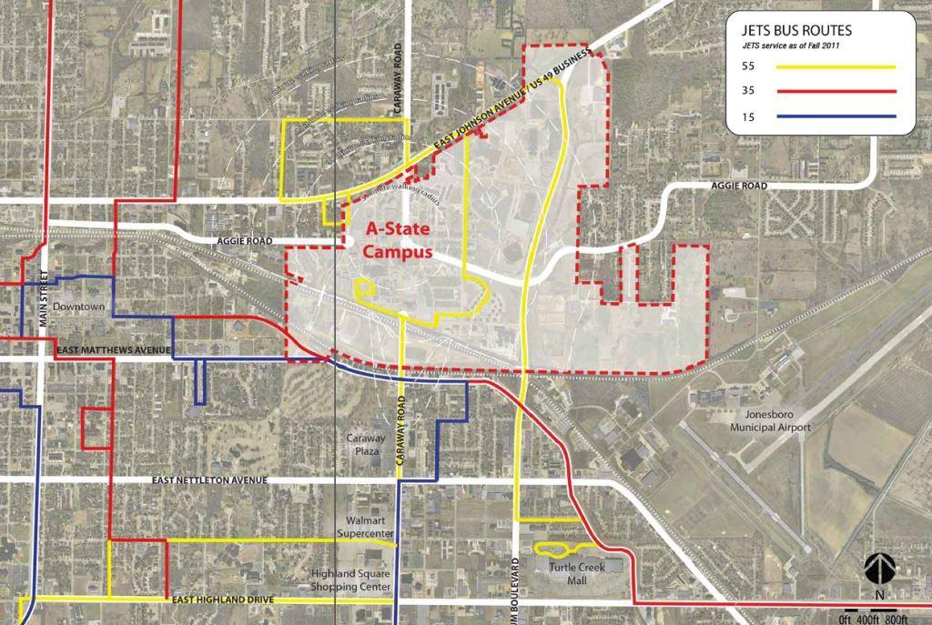 Asu Jonesboro Campus Map.2012 Master Plan Bus Routes Map