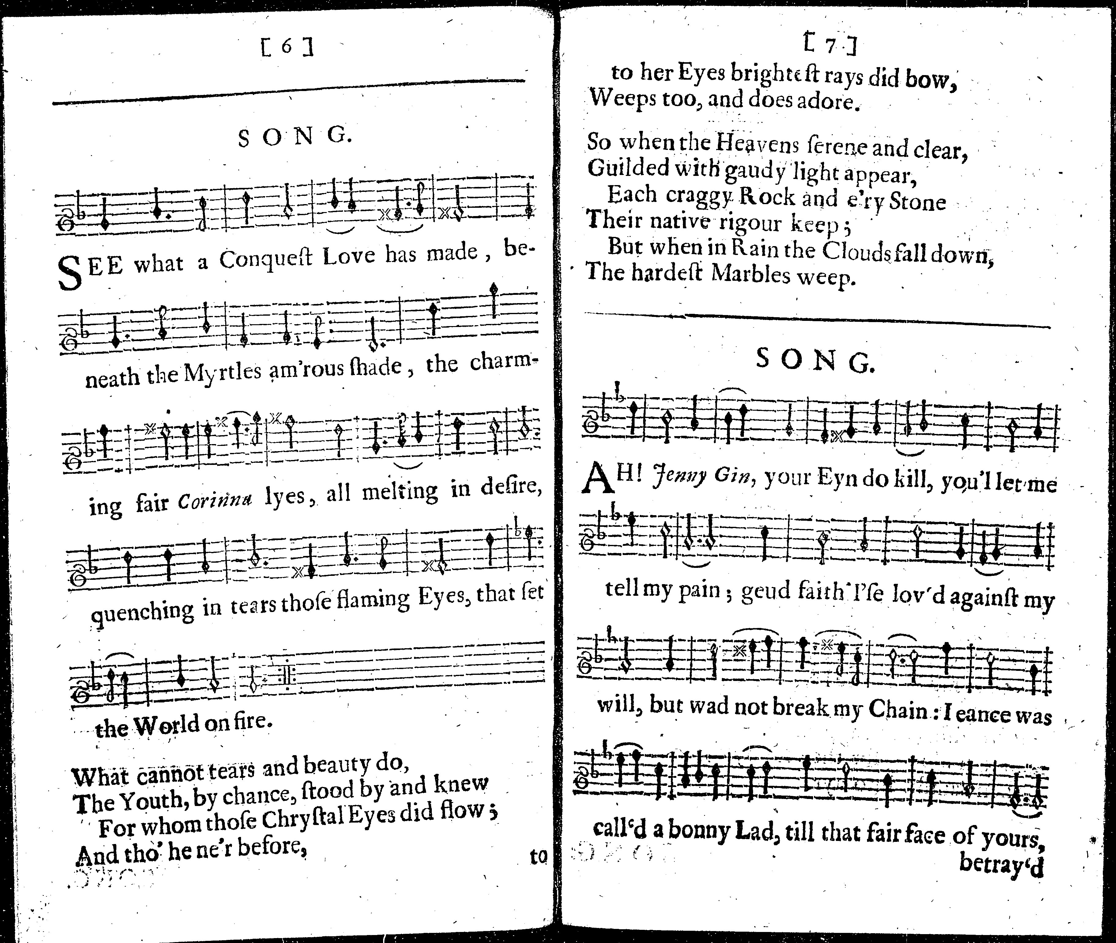 Fumerton10g collection of the choicest songs 1683 adopting and abbreviating the jockey and jenney broadside ballad in white letter with musical notation sig biocorpaavc Choice Image