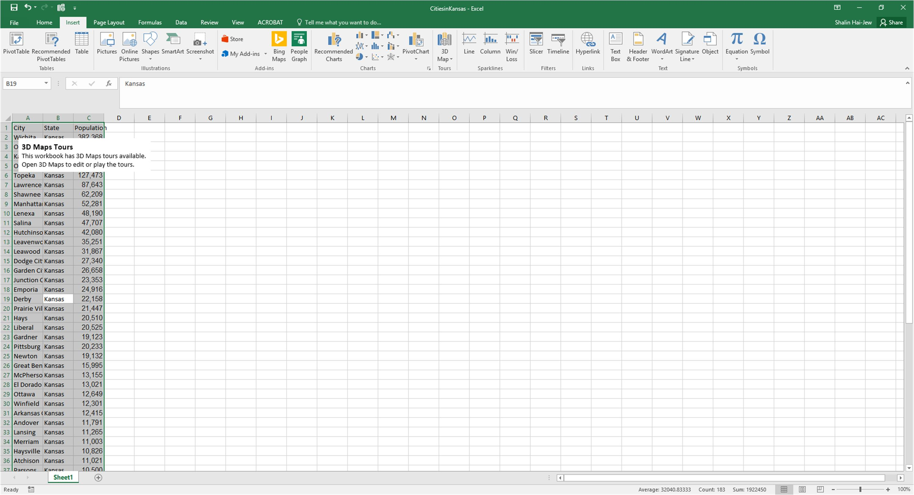 Using the 3D Map Feature in Microsoft Excel 2016