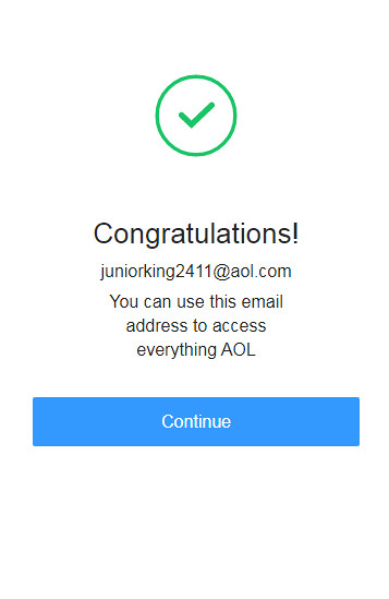 AOL mail sign up congratulations