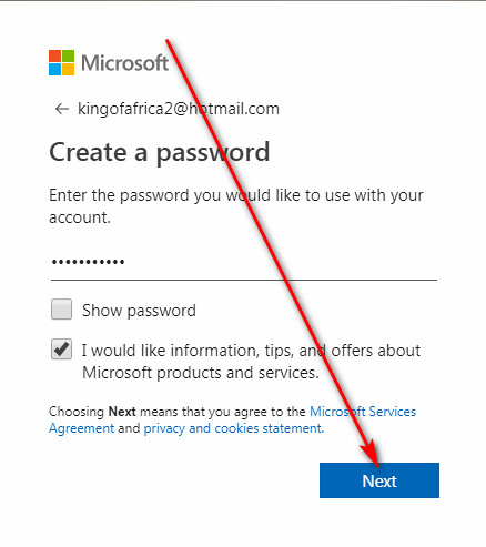Hotmail sign up password