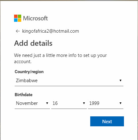 Hotmail sign up details