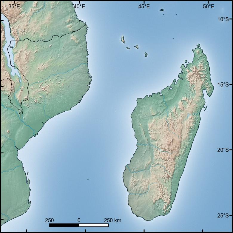 Madagascar And Southeastern Africa - Natural world map