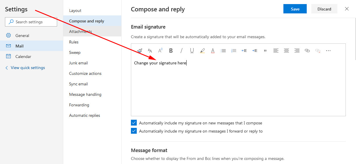 Hotmail sign up create account add signature