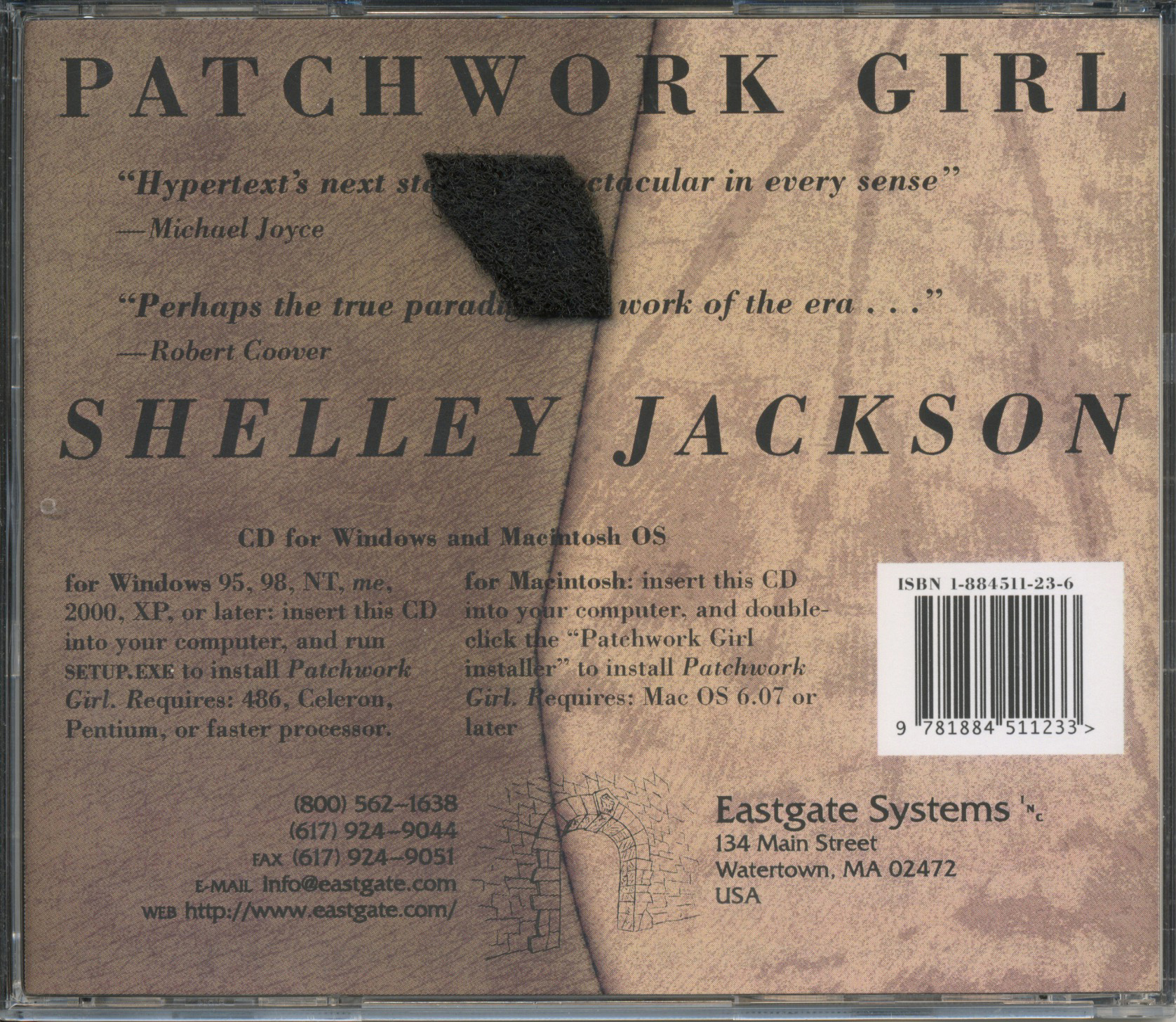 shelley jacksons patchwork girl essay Assessment: students will be required to submit 1 essay of 5,000 words   shelley jackson, patchwork girl, by mary/shelley & herself (1995.