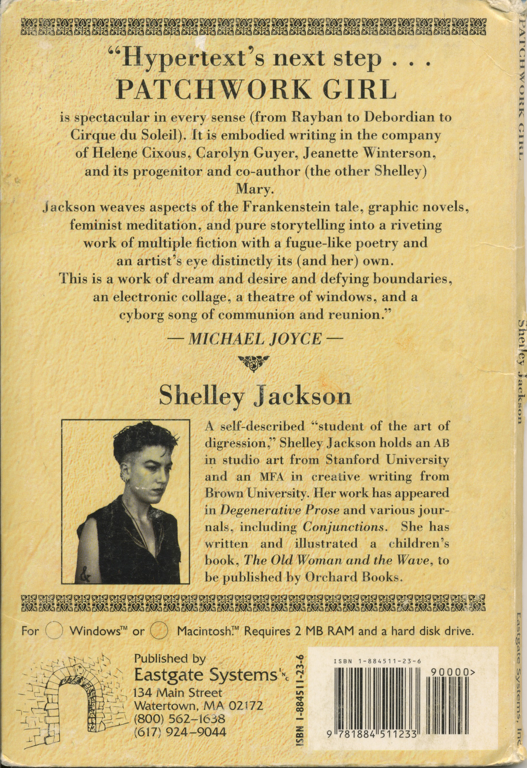 shelley jacksons patchwork girl essay I am a double agent: shelley jackson's patchwork girl and the persistence of print in the age of hypertext  in this essay, i will argue for reading jackson's.