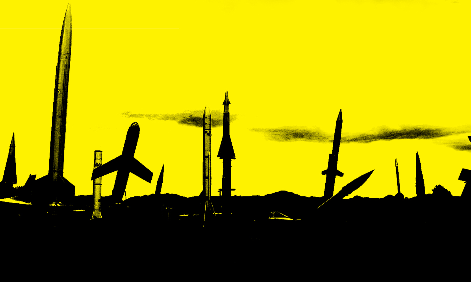 A spiky, synthetic landscape silhouetted in black and built from collaged images of missiles and bomber planes rises against a yellow background.