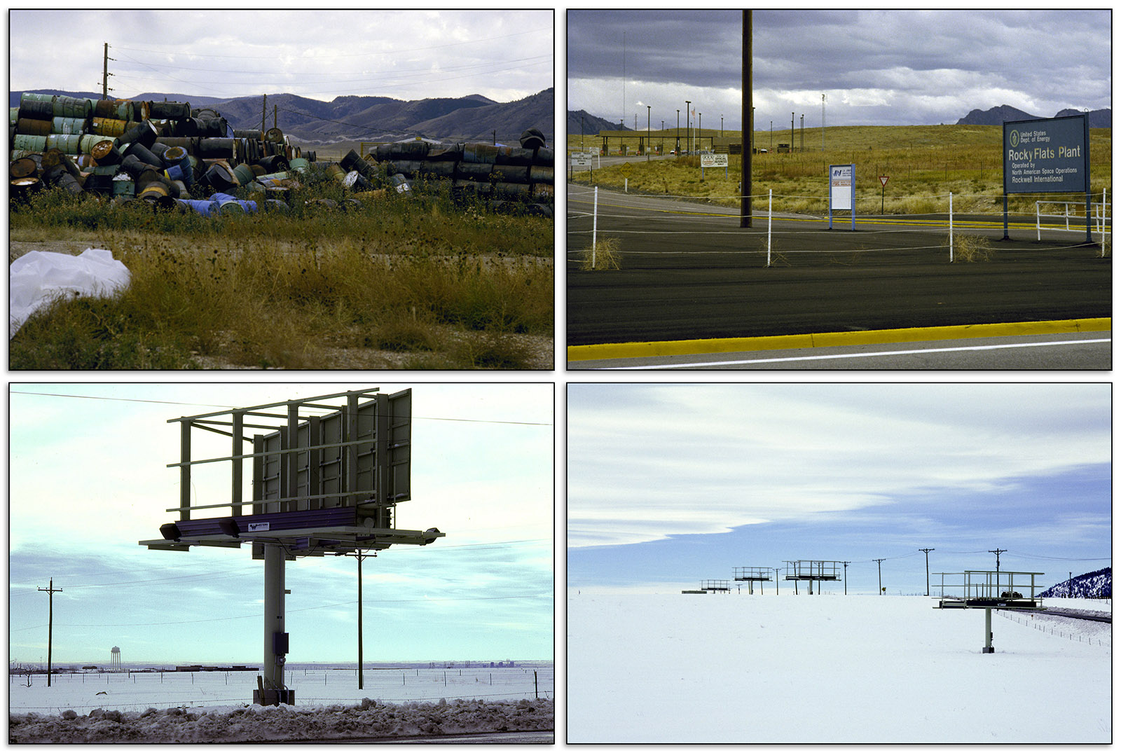 Grid of four images of the Rocky Flat Plant and Highway 93 ca. 1990.