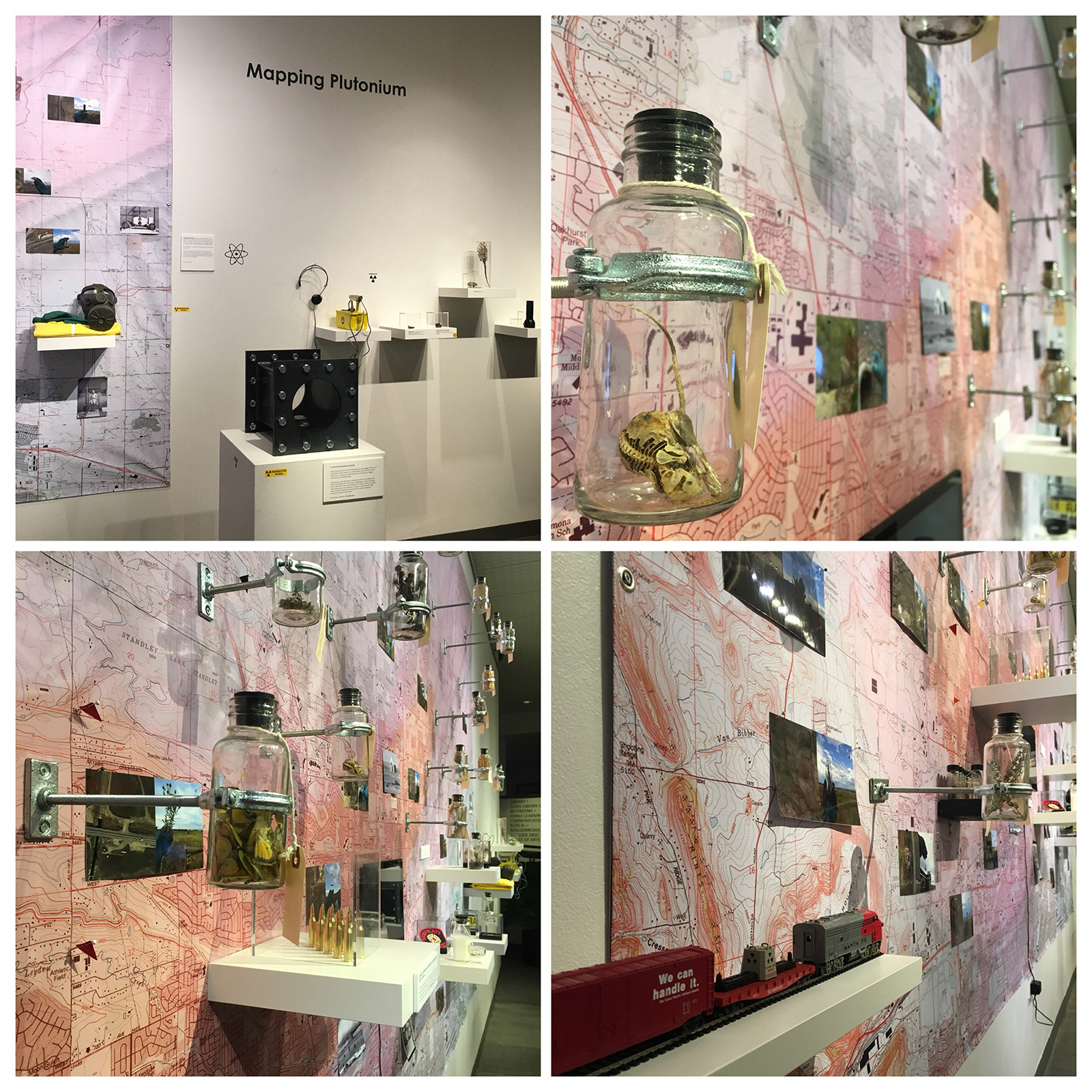 Grid of four images showing various details of a sprawling installation with a wall map and scientific instruments.