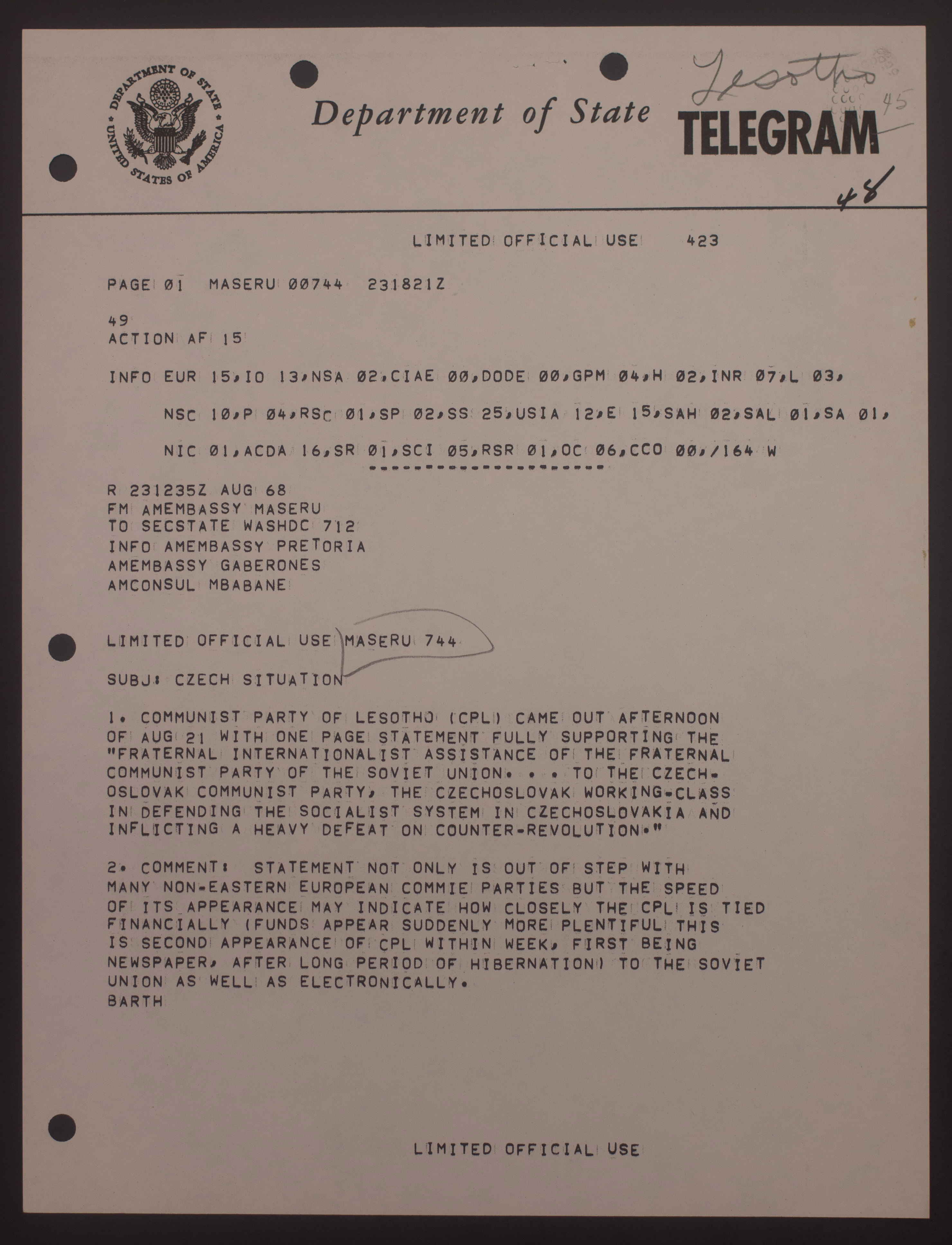 Telegrams Sent From The U.S. Are Asking For The Reaction For African  Countries To The Soviet Occupation. Telegrams Sent From African Countries  Primarily ...