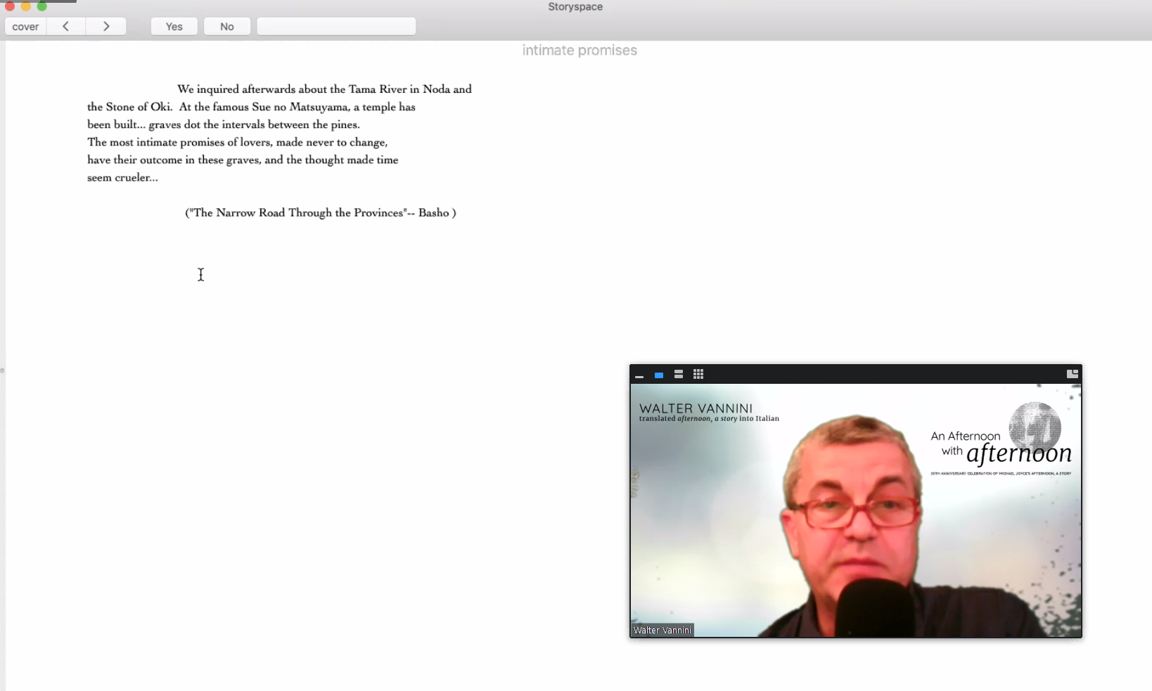 A screenshot of Walter Vannini reading afternoon, a story on Zoom