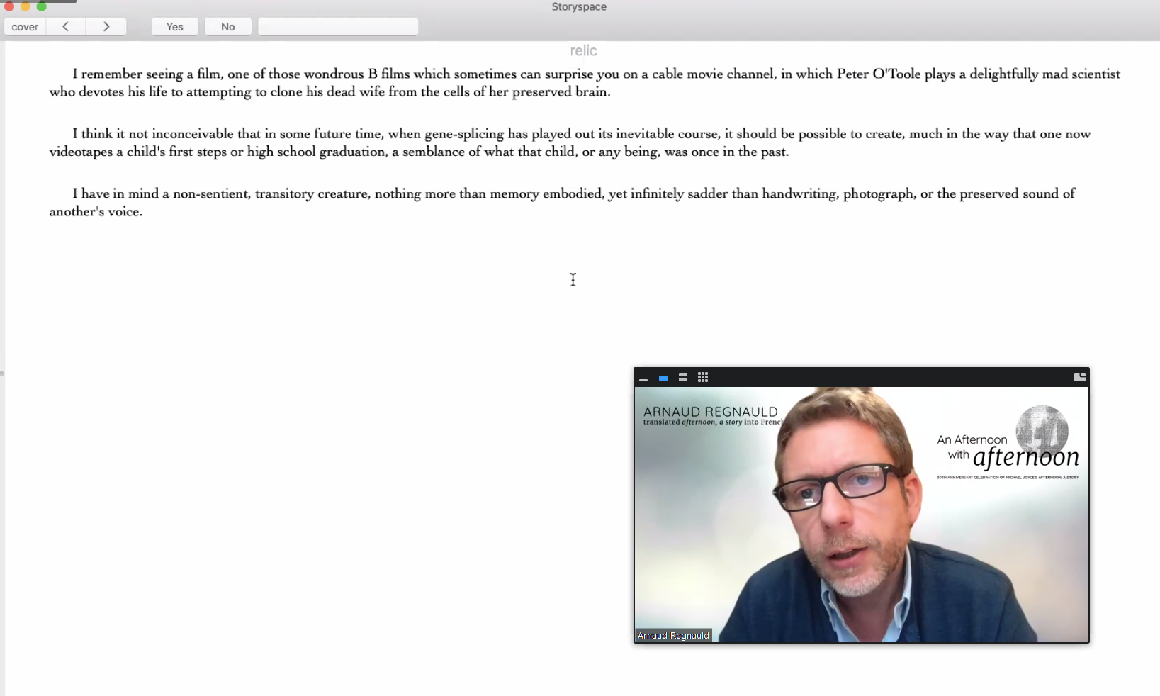 A screenshot of Arnaud Regnauld reading afternoon, a story on Zoom