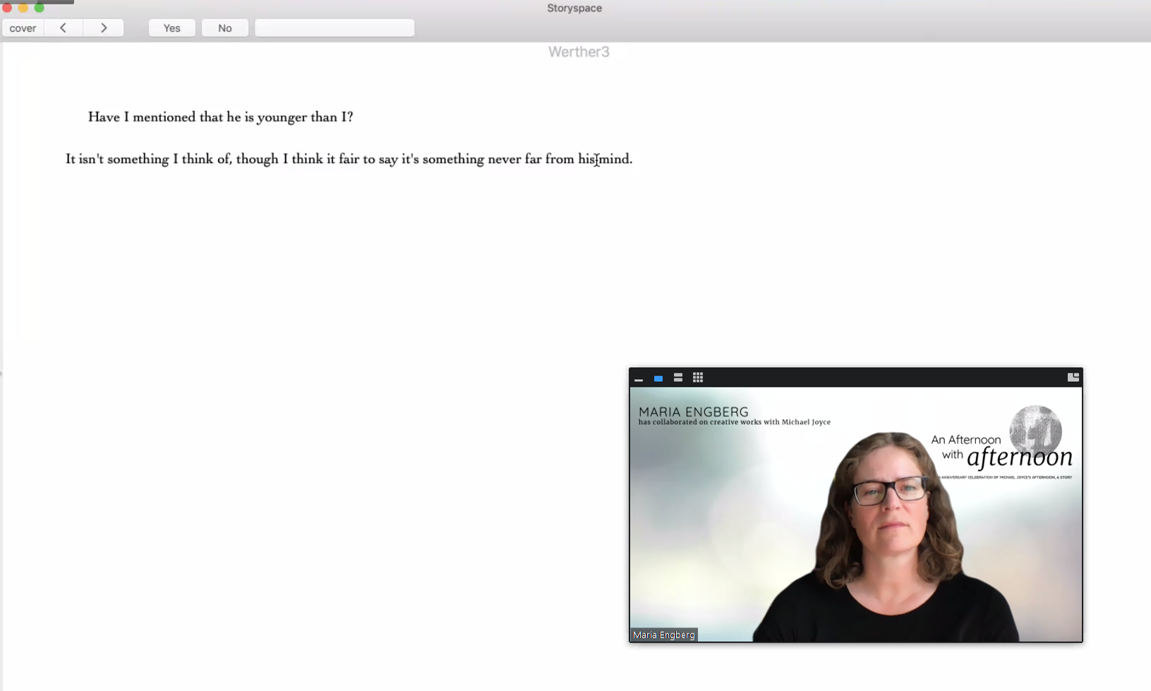 A screenshot of Maria Engberg reading afternoon, a story on Zoom