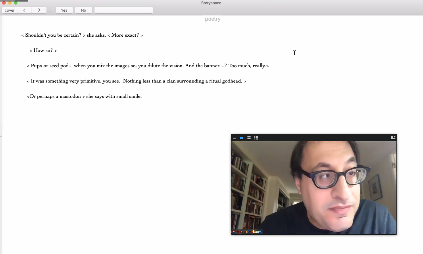 A screenshot of Matthew Kirschenbaum reading afternoon, a story on Zoom