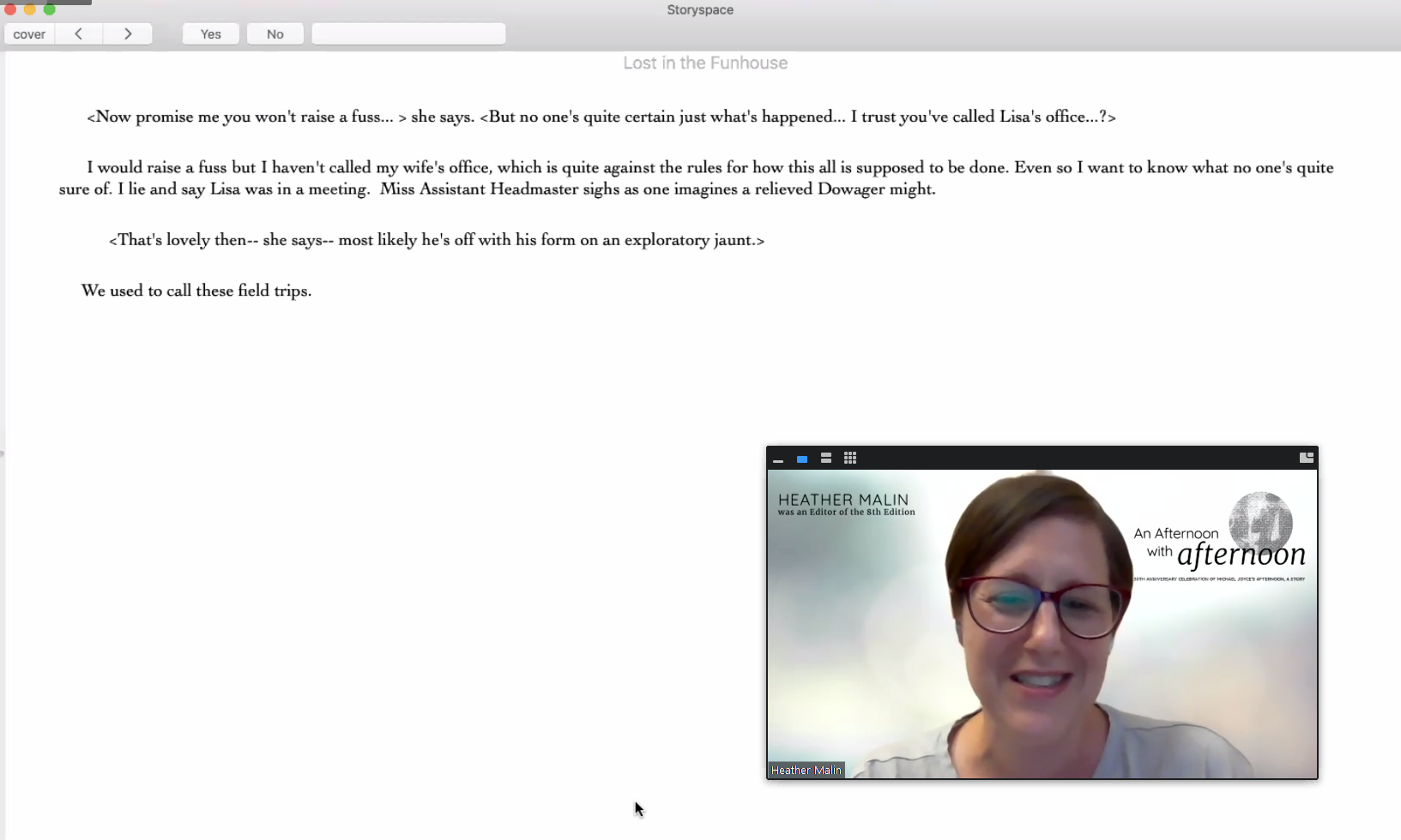 A screenshot of Heather Malin reading afternoon, a story on Zoom