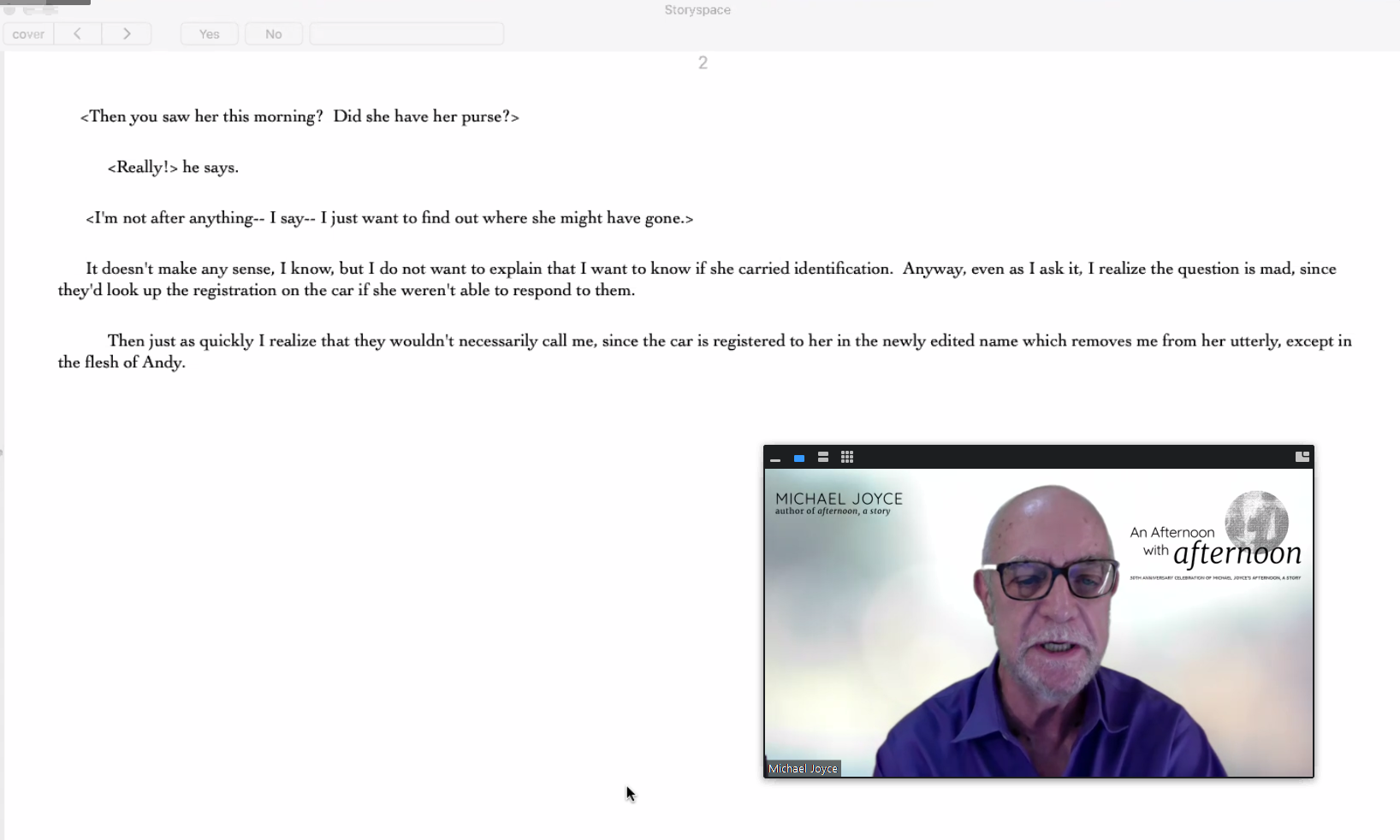 A screenshot of Michael Joyce reading afternoon, a story on Zoom