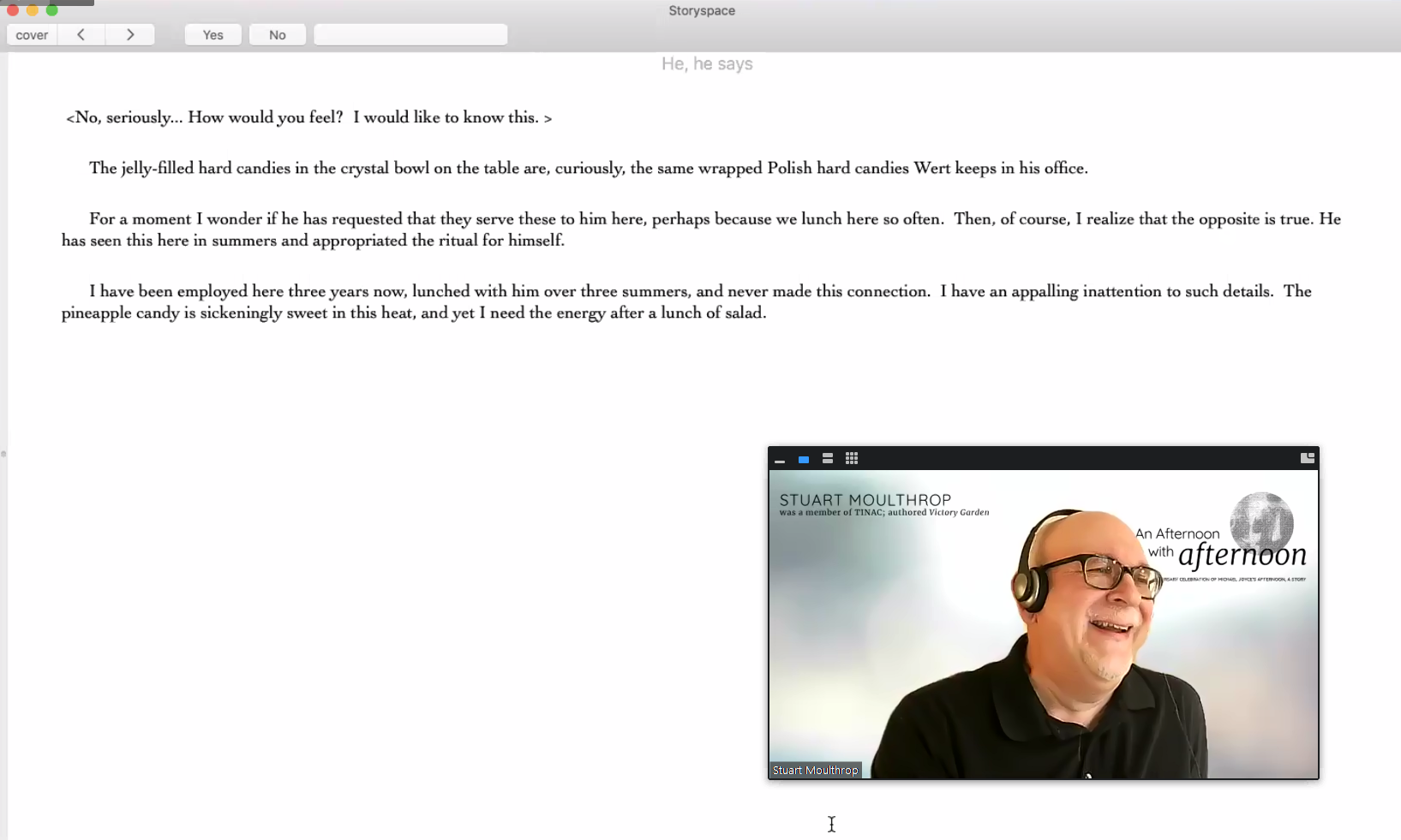 A screenshot of Stuart Moulthrop reading afternoon, a story on Zoom