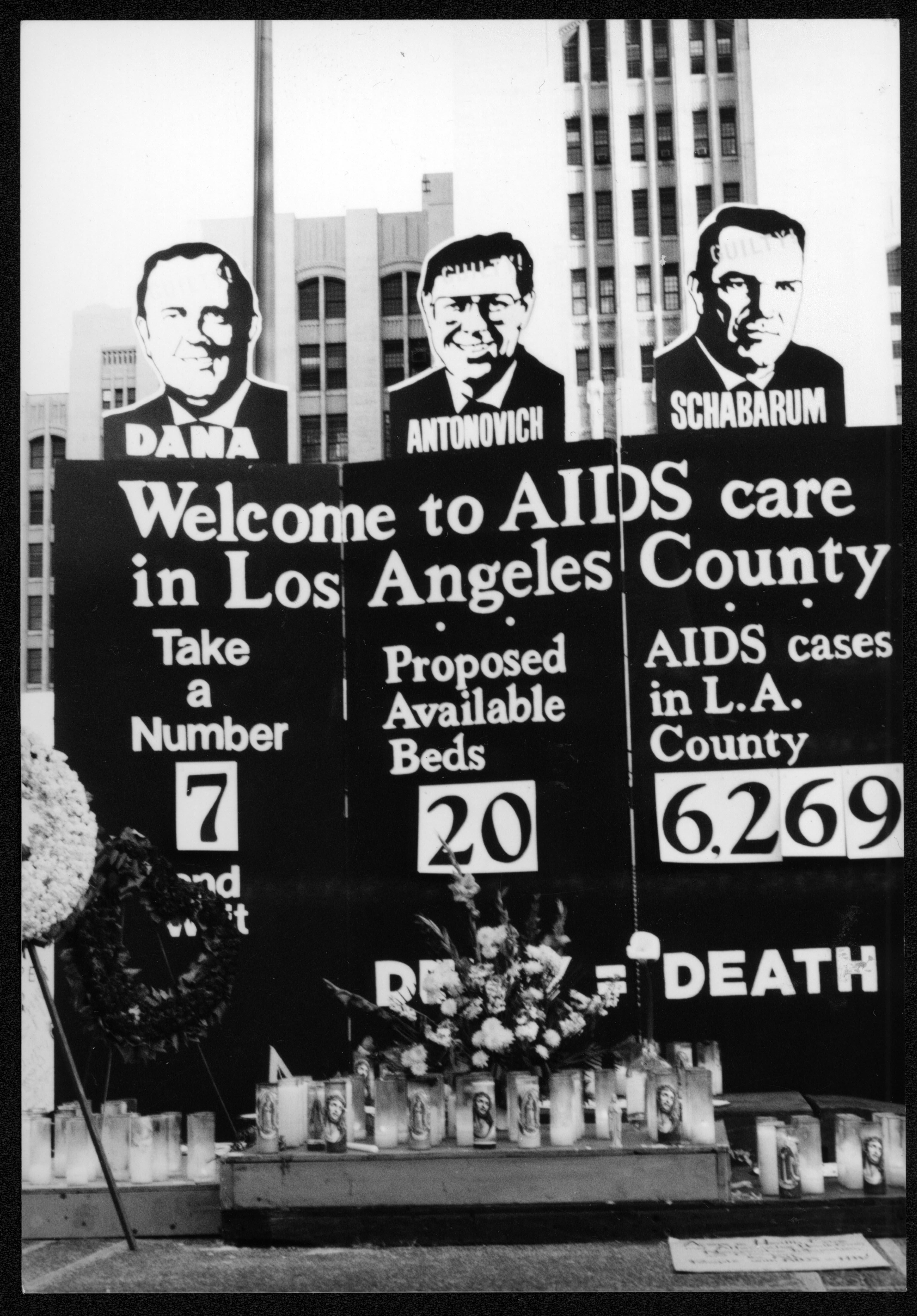 Protest against the the lack of hospital space for AIDS patients at Los Angeles County and USC hospitals. Circa 1989.