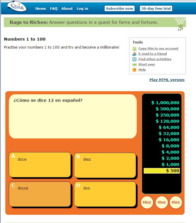 Spanish games quia
