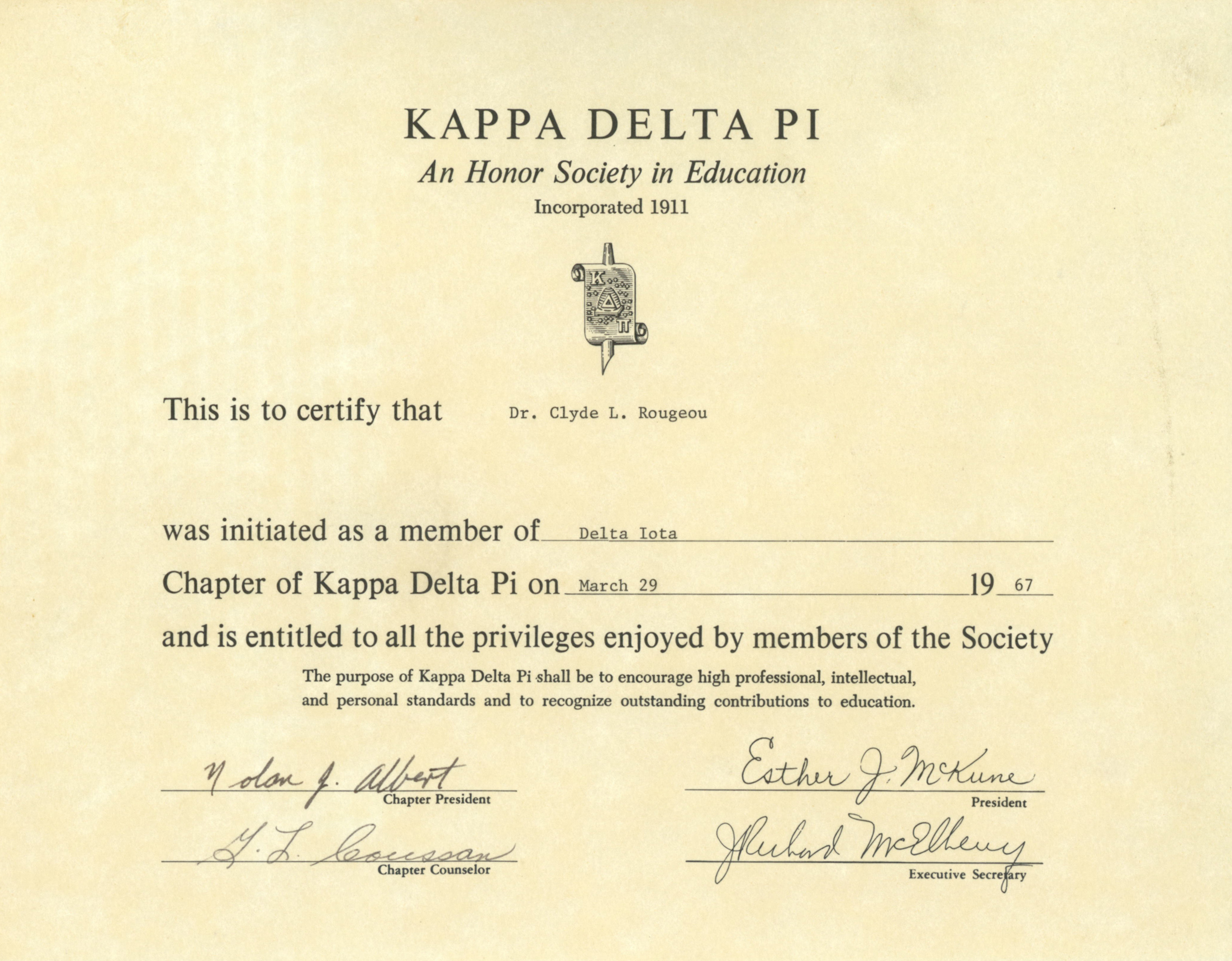Kappa Delta Pi Certificate For President Rougeou