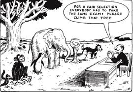 Illustration stating the fact that not all animals are equally capable of climbing a tree.