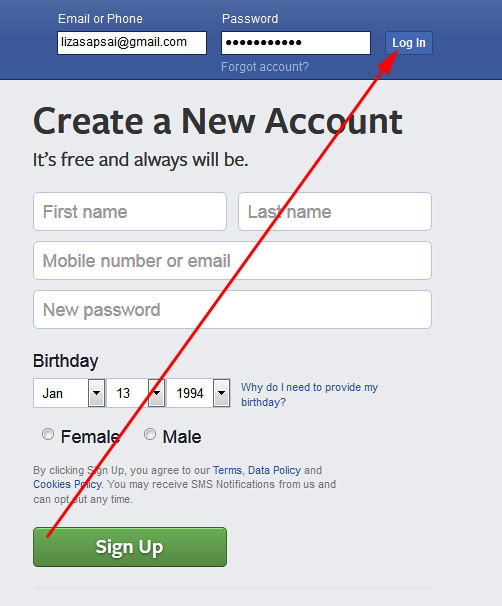 facebook login sign in from PC