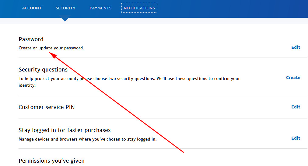 Paypal sign up create account change password