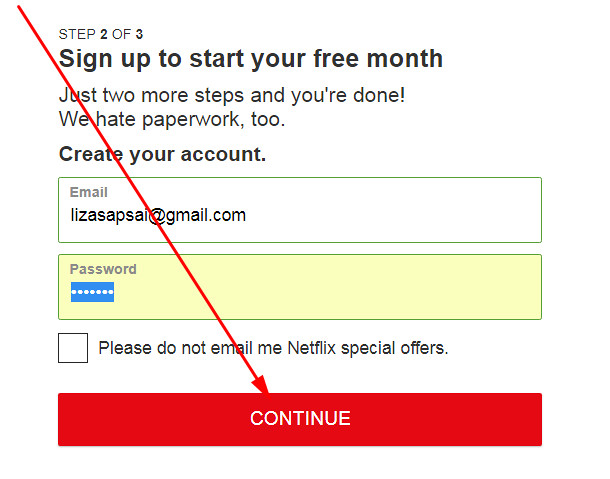 Netflix sign up create account from PC