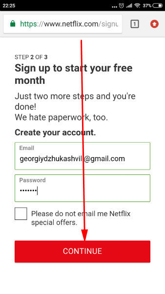 Netflix sign up create account from mobile android