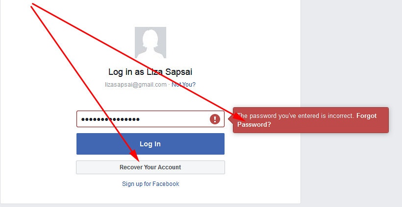facebook login sign in recover account
