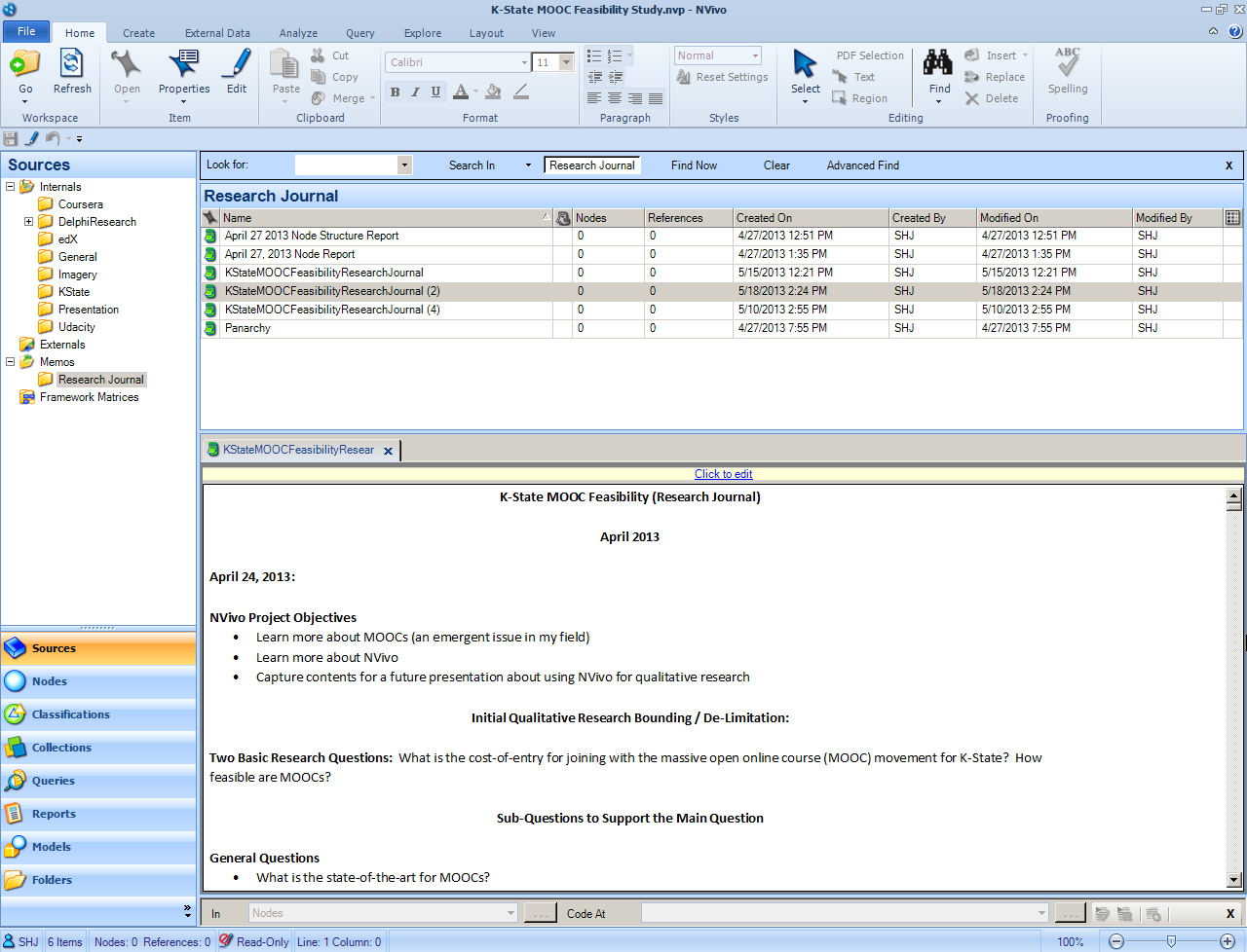 Research Journaling in NVivo